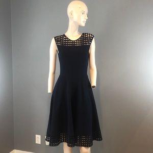 NWT Akris Navy Blue Sleeveless Midi Dress Sz Sm